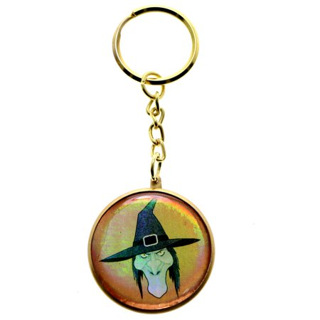 Halloween Angry Witch Split-Ring-Keychain Gold-Tone/Orange](Halloween Keychain Crafts)