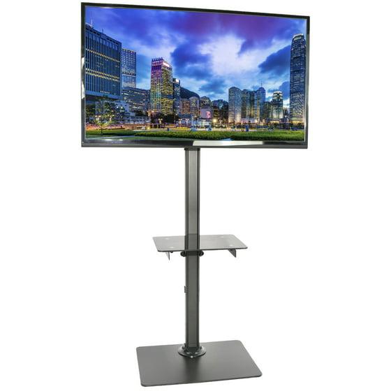 vivo black steel and glass shelf tv presentation floor stand lcd led plasma flat screen. Black Bedroom Furniture Sets. Home Design Ideas