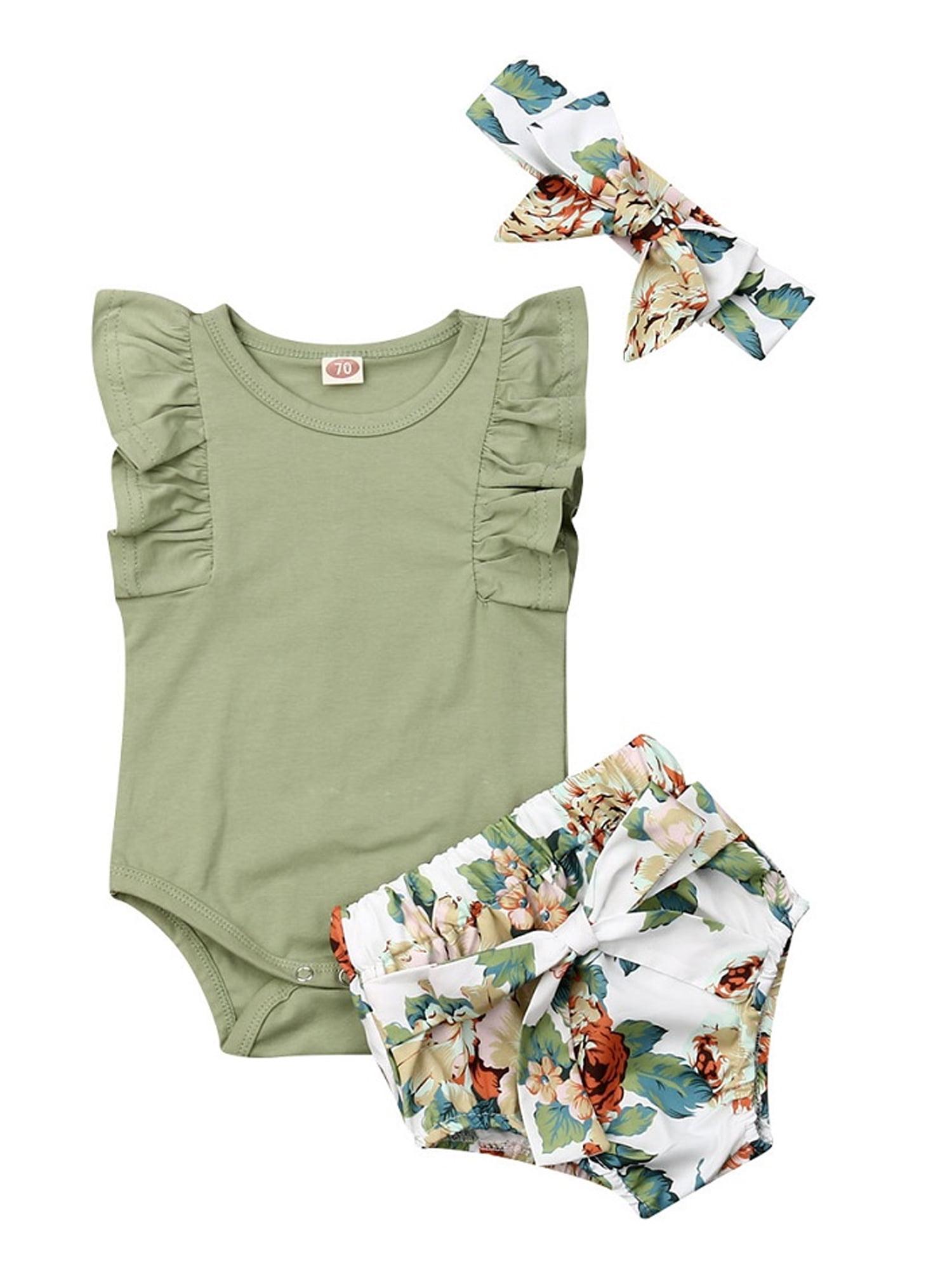 Newborn Baby Girl Ruffled Romper Bodysuit Floral Pants Headband 3pcs Set Outfits