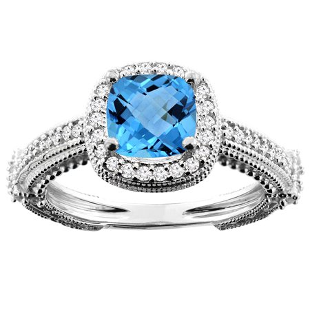 10K White Gold Natural Swiss Blue Topaz Ring Cushion 7x7mm Diamond Accent, size