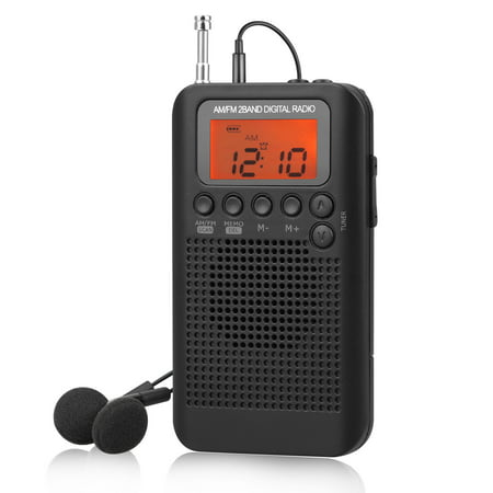 AM/FM Radio, Portable Pocket Handy AM FM Radio with Speaker, Sleep Timer,  Preset, Alarm Clock and Earphone