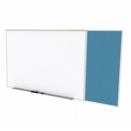 4 ft. x 10 ft. Style C Combination Unit - Porcelain Magnetic Whiteboard and Vinyl Fabric Tackboard - Ocean