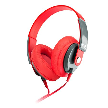 Klip Xtreme Obsession Stereo Headphones with Microphone- Over-ear with In-Line Command capsule- Large 40mm Speaker Drivers for Great Sound & Bass- 3.5mm Connector- Red & Gray Color