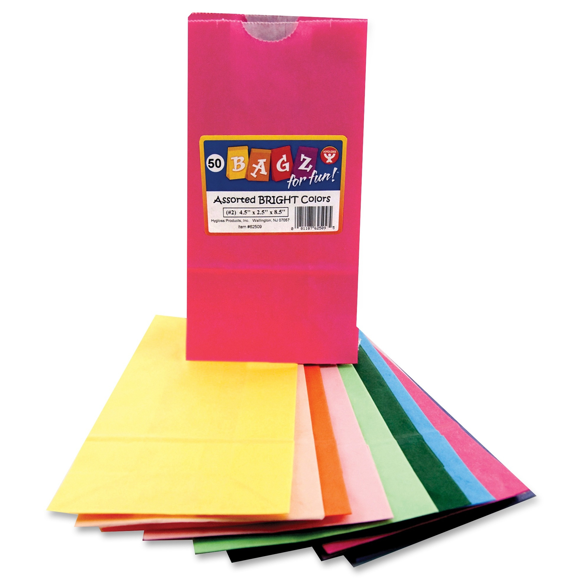 "Hygloss Bright Color Bagz - 50 Piece[s] - 8.5"" X 4.5"" X 2.5"" - 1 Pack - Assorted - Paper (hyx-62509)"