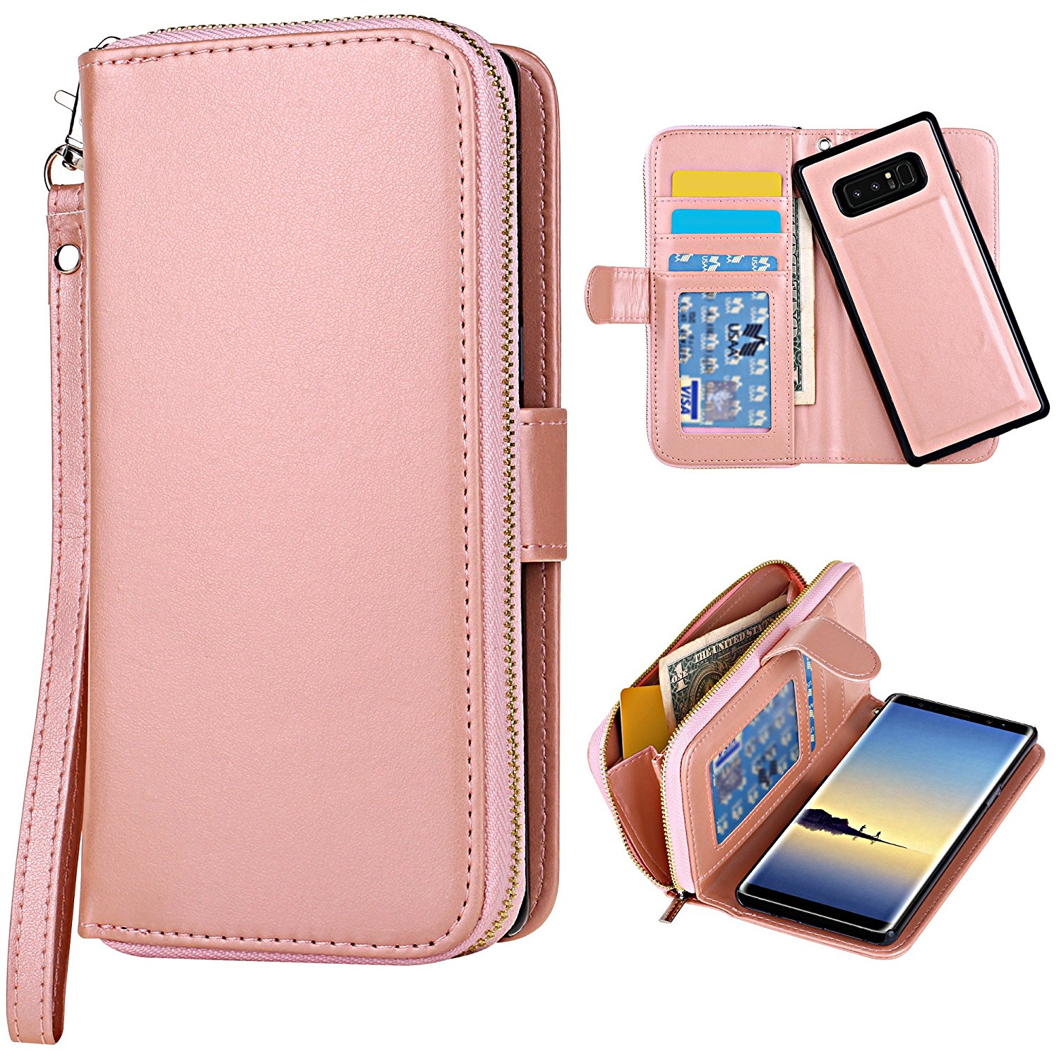 Galaxy Note 8 Case [Cards Slot Pocket], ELV Samsung Galaxy Note 8 Flip Case [PU Leather] Folio Wallet Purse Protective Magnetic-Closer Case Cover for Samsung Galaxy Note 8 [ROSE GOLD]