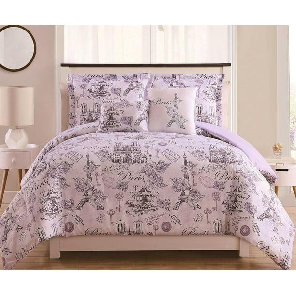 4 5pc Paris Comforter Sets Lavander Duvet Cover Purple Grey Bedding Bedspread Walmart Com Walmart Com