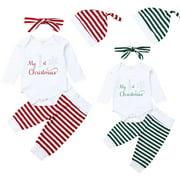 Infant Baby Boys Girls Christmas Long Sleeve Rompers+Striped Long Pants+Hats+Headband 4Pcs Clothes