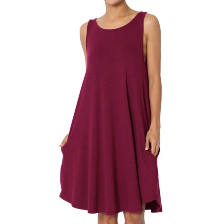 - TheMogan Women's S~3X Sleeveless Trapeze Jersey Knit Pocket T-Shirt Tank Dress