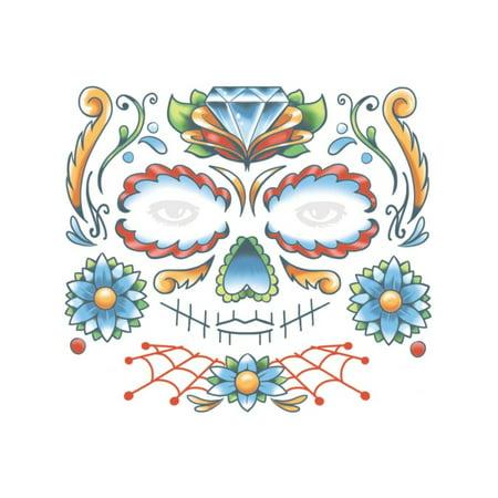 Dia De Los Muertos Tattoos (Dia De Los Muertos Candy Skull Face Tattoo Costume)