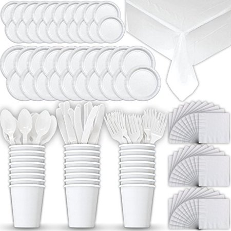 Disposable Paper Dinnerware for 24 - White - 2 Size plates, Cups, Napkins , Cutlery (Spoons, Forks, Knives), and tablecovers - Full Party Supply Pack - Perfect for Birthday Parties](Kids Party Plates And Cups)