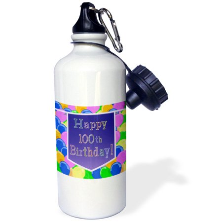 3dRose Balloons with Purple Banner Happy 100th Birthday, Sports Water Bottle, - 100th Birthday Banners