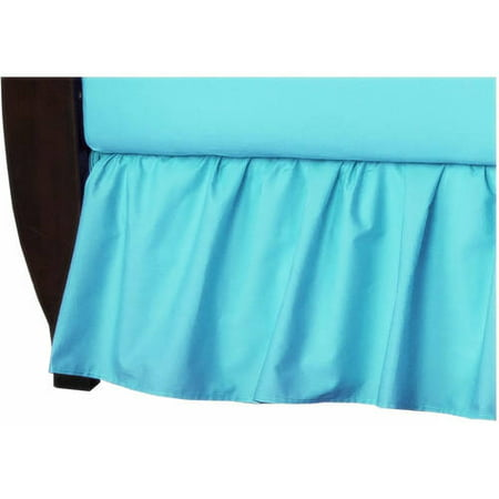 American Baby Company 100% Natural Cotton Percale Ruffled Crib Skirt, Aqua, Soft Breathable, for Boys and Girls Baby Boy Dust Ruffle