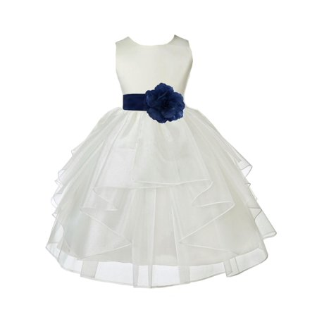 Ekidsbridal Ivory Navy Shimmering Organza Christmas Bridesmaid Recital Easter Holiday Wedding Pageant Communion Princess Birthday Clothing Baptism 4613T size 12-18 month Flower Girl Dress