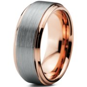 tungsten wedding band ring 8mm for men women comfort fit 18k rose gold plated plated beveled - Walmart Wedding Ring