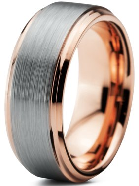 Tungsten Wedding Band Ring 8mm for Men Women Comfort Fit 18K Rose Gold Plated Plated Beveled Edge Brushed Polished Lifetime Guarantee