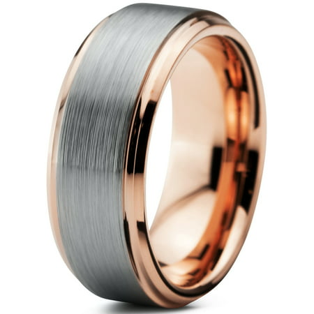 Tungsten Wedding Band Ring 8mm for Men Women Comfort Fit 18K Rose Gold Plated Plated Beveled Edge Brushed Polished Lifetime