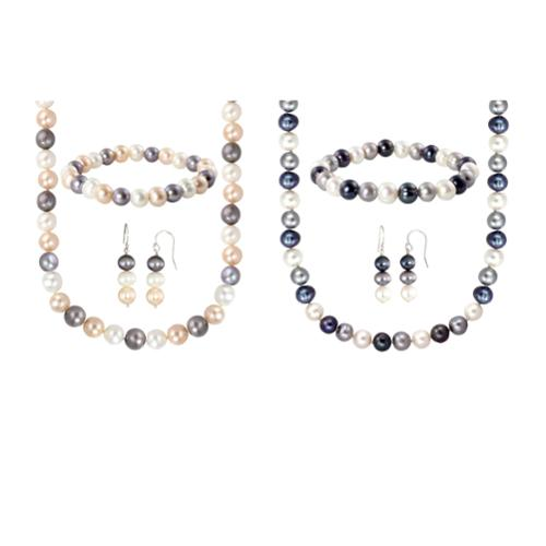 Sterling Silver Multi-Colored Freshwater Cultured Pearl Necklace, Bracelet and Earring Set (8-8.5 mm) White, Peach, Grey