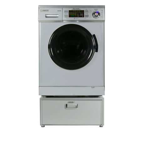 Equator EZ 4400 N Silver All-in-one New Compact Combo Washer Dryer with Pedestal Storage