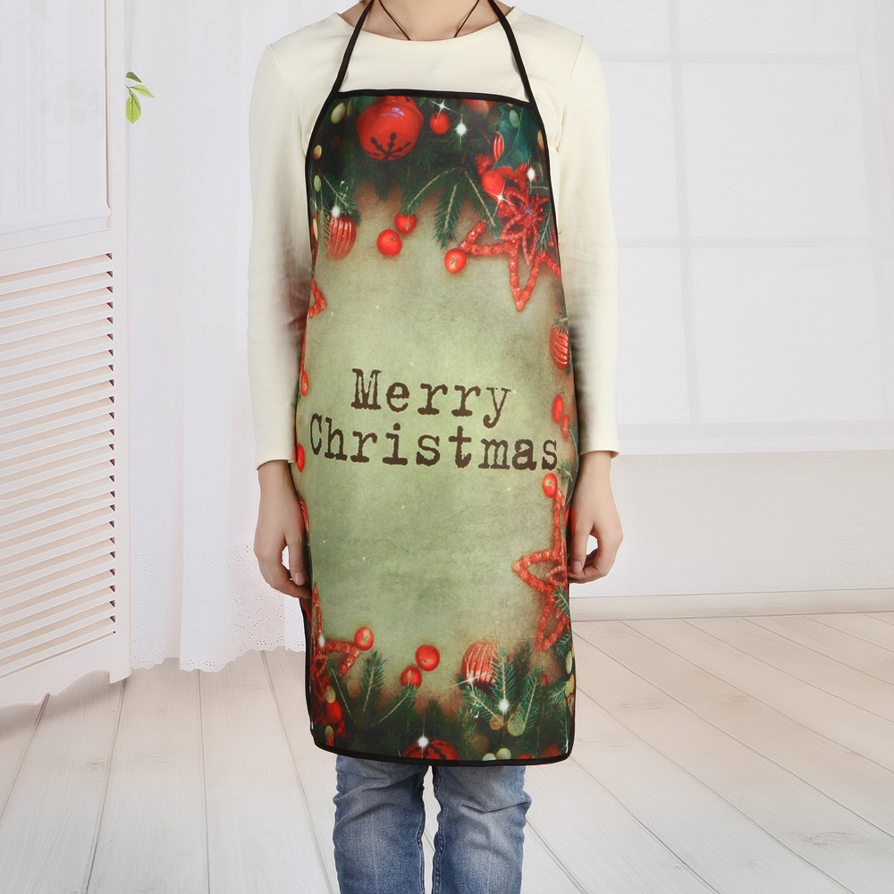 Mosunx Christmas Decoration Waterproof Apron Christmas Dinner Party Apron