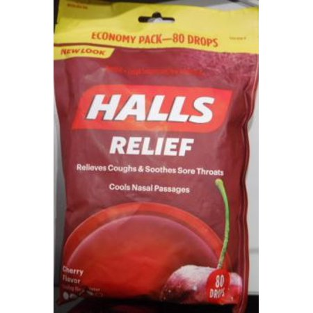 Halls Triple Action Soothing Cough Drops, Cherry, 80 Ct