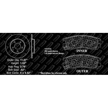 Max Brakes Rear Performance Brake Kit [ Silver Zinc Slotted Drilled Rotors + Metallic Pads ] TA076212 | Fits: 2000 00 2001 01 2002 02 2003 03 Buick LeSabre - image 2 de 8