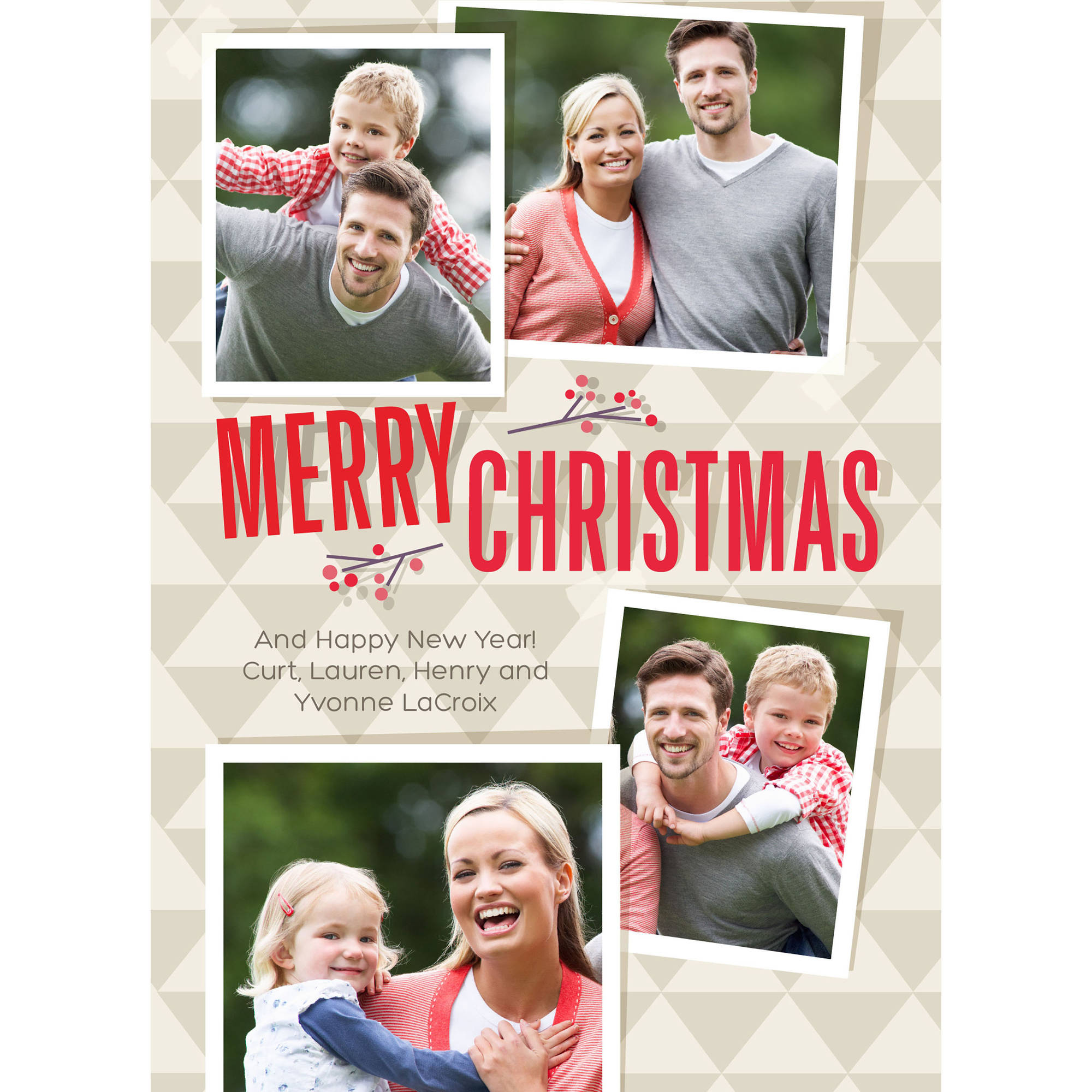Holly Triangles - 5x7 Personalized Merry Christmas Holiday Card