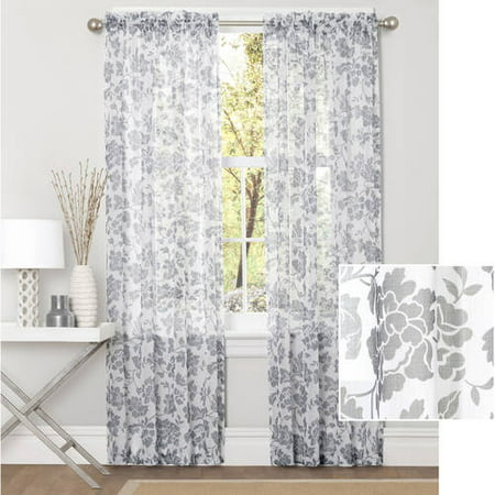 Better homes and gardens flower garden sheer curtain panel Better homes and gardens curtains