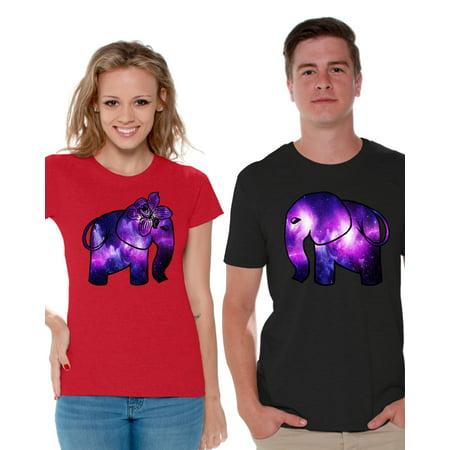 Awkward Styles Couple Shirts Elephants Matching Elephant Couple Shirts Happy Valentine's Day Cute Elephant T Shirts for Couple Elephant Women's Shirt Elephant Men's Shirt Love Gift Idea for Couples (Cute Couple Shirt Ideas)
