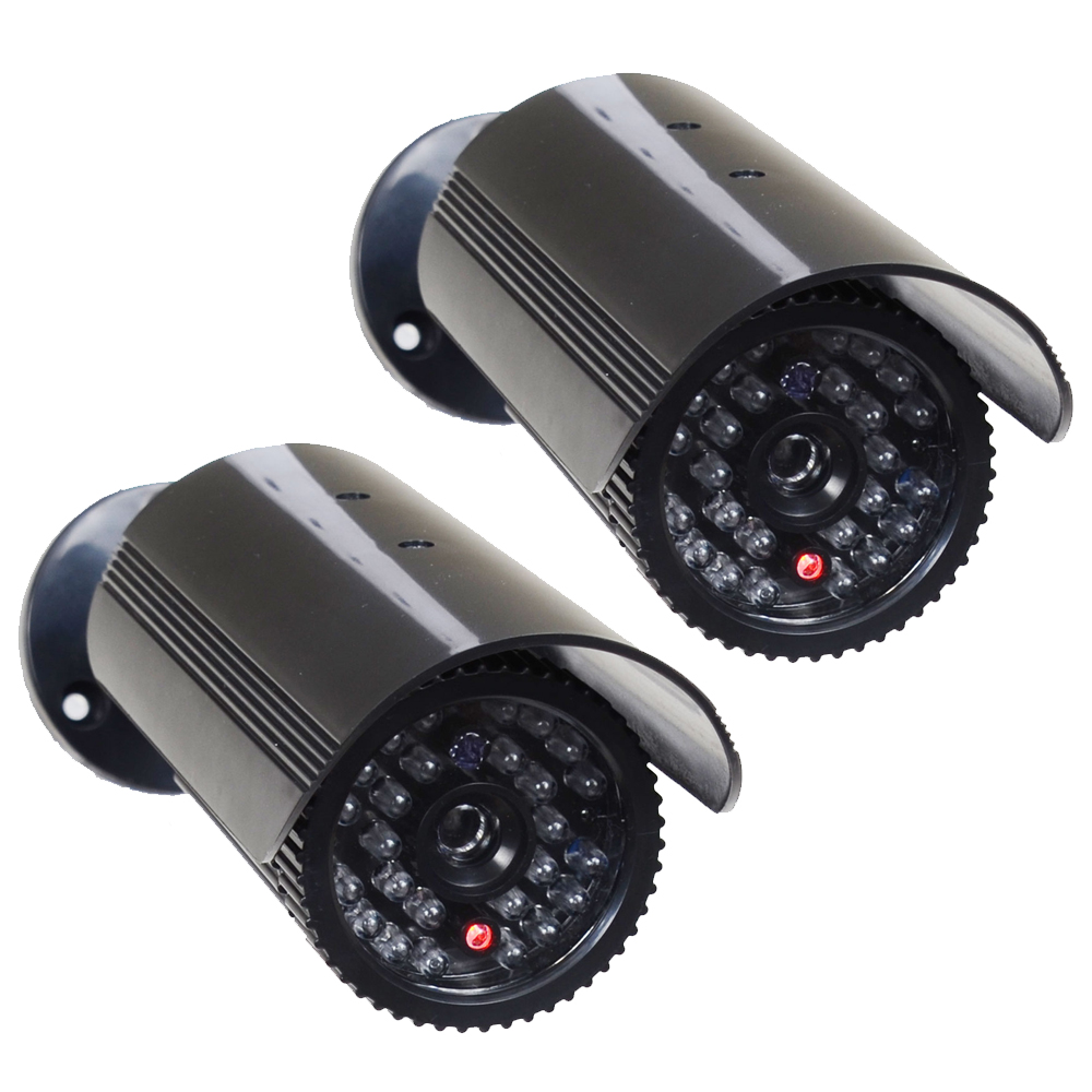 VideoSecu 2 Fake Dummy Infrared IR LED Light Bullet Security Camera with Blinking Flashing Light Imitation Simulated w68