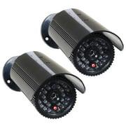VideoSecu 2 Fake Dummy Infrared IR LED Light Bullet Security Camera with Blinking Flashing Light Imitation Simulated w68