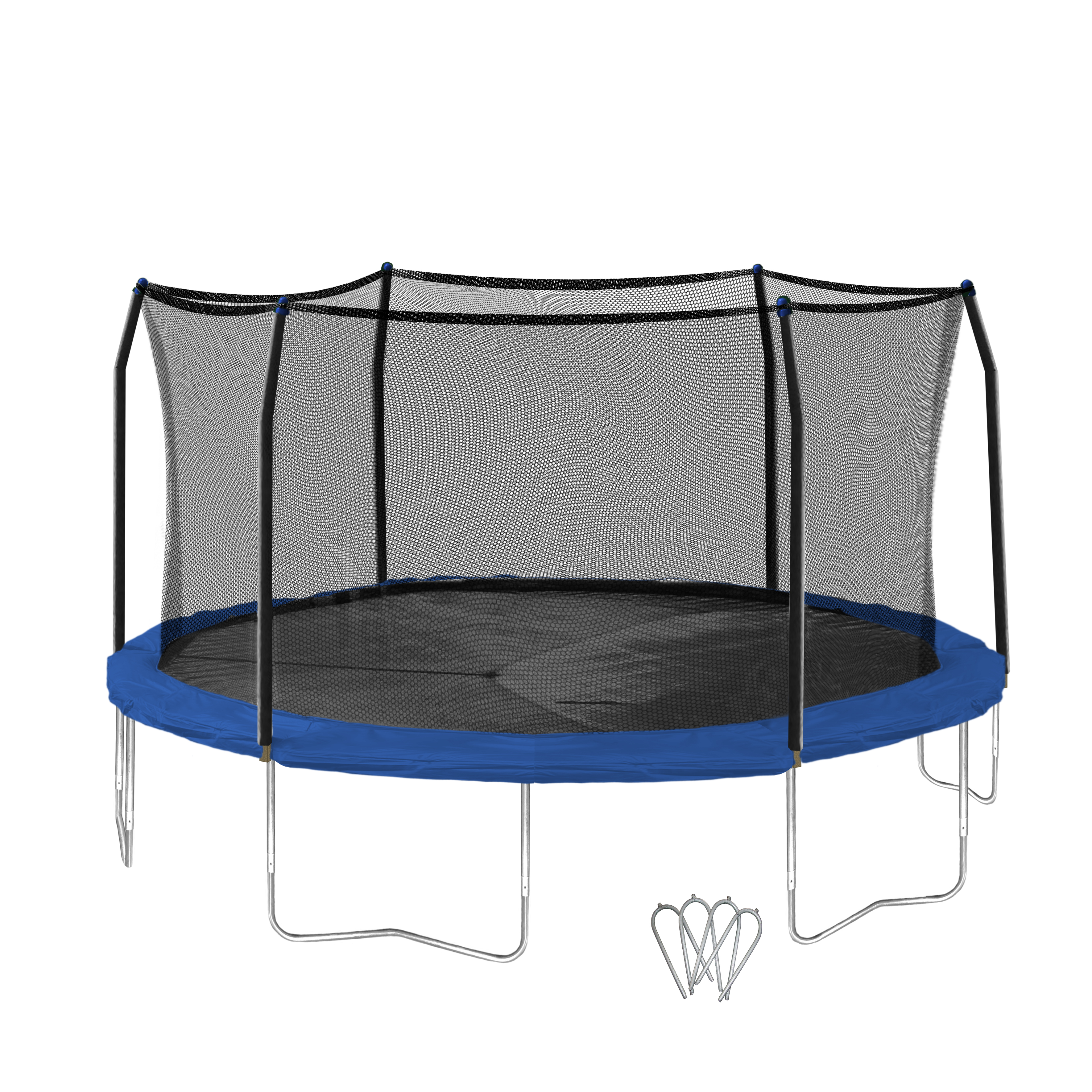 Skywalker Trampolines 16-Foot Trampoline, with Wind Stakes, Blue
