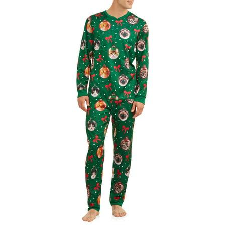 New Mens Union Suit (DEC 25TH Men's Sleep, Cat Ornaments Christmas Union Suit)