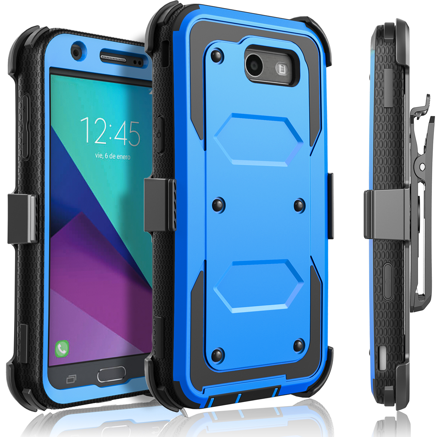 Galaxy J3 Emerge Case, Galaxy J3 Prime Case, [SUPER GUARD] Dual Layer Protection With [Built-in Screen Protector] Holster Locking Belt Clip+Circle(TM) Stylus Touch Screen Pen (Black)