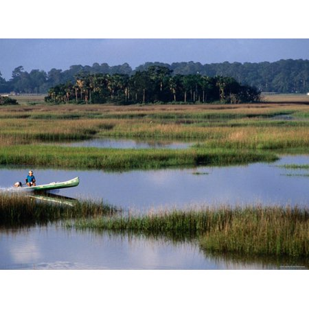 Man in Outboard Canoe on Moon River, Tybee Island, Georgia Print Wall Art By John Elk