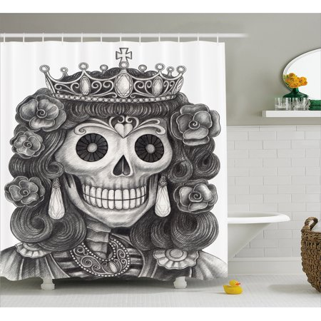 Queen Shower Curtain, Day of the Dead Artwork Hand Drawing Folk Skull with Flowers Crown Ornaments, Fabric Bathroom Set with Hooks, 69W X 70L Inches, Black and White, by Ambesonne