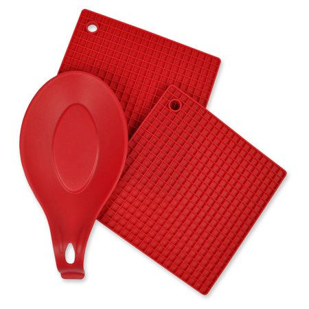 Design Imports Red 3 Piece Kitchen Accessory Set - Includes 2 silicone potholder/Trivets and 1 silicone spoon (Imported Accessories)