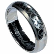 AAB Style RTS-13 Tungsten Carbide Ring with Laser-Made Vine Design