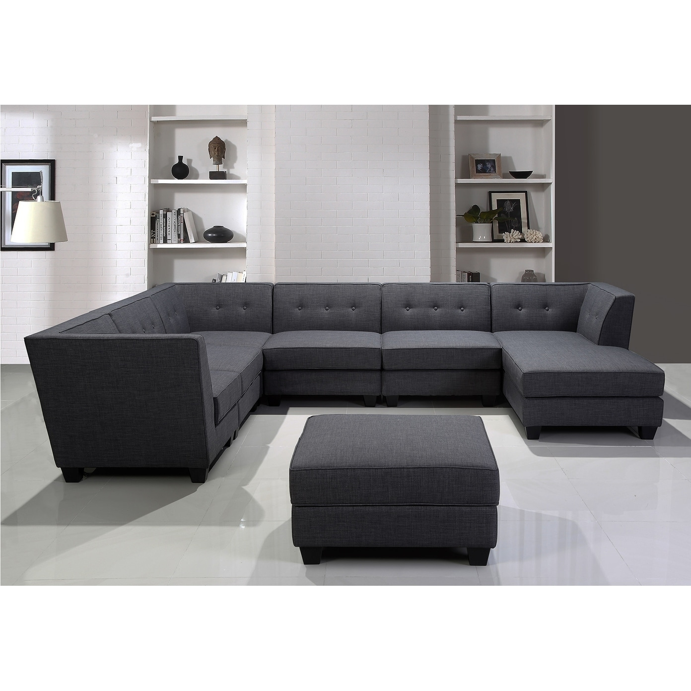Best Master Furniture Vendome Modular Gray Fabric 7-Piece Sectional