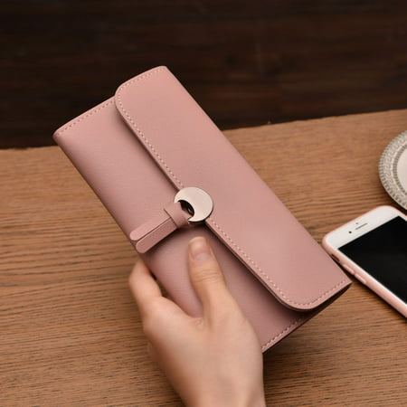 Wallet for Women Leather Slim Clutch Long Designer foldable Ladies Credit Card Holder Organizer Billfold Credit Card Holders