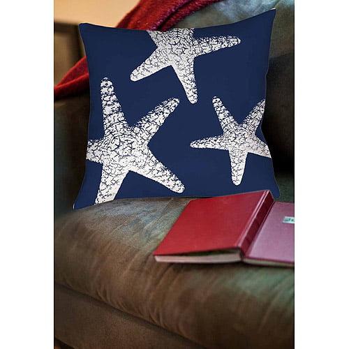 IDG Nautical Nonsense White Blue Starfish Indoor Pillow