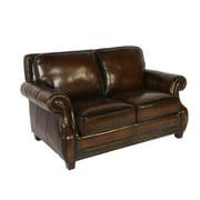 Prato Leather Loveseat in Black & Tan