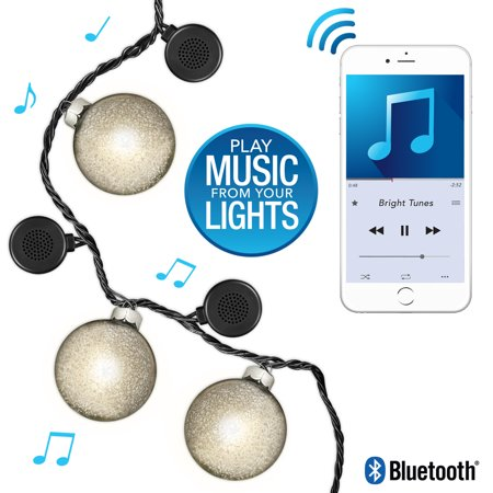 Bright Tunes Indoor/Outdoor LED Decorative Rattan Globe String Lights with Bluetooth Speakers