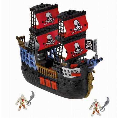 Fisher Price Imaginext Large Cross Bones Pirate Ship with 2 Figures Playset (Fisher Price Pirate Ship)