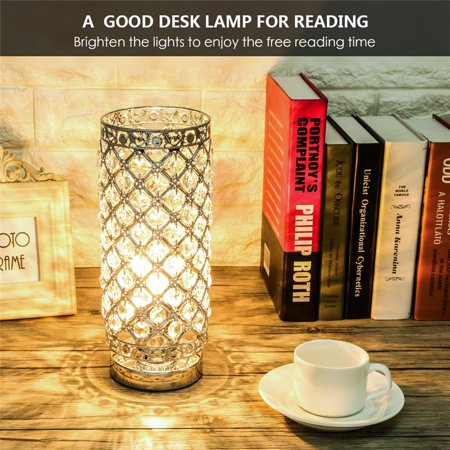 German Crystal Lamp - Crystal Table Lamp, Modern Table Light with Sliver Lamp Shade Night Light Fixture for Living Room Bedroom Kitchen