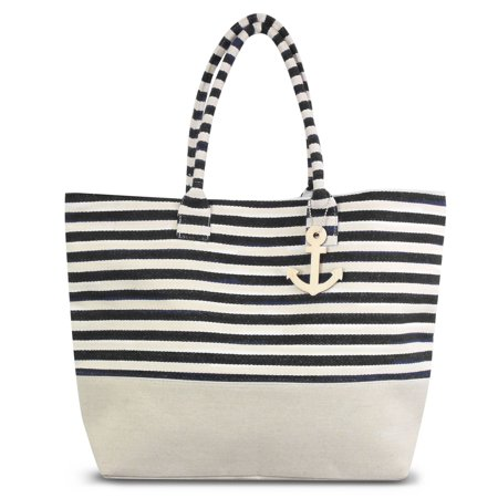 8710c5fe18ed Stripes Design Women Handbag by Zodaca Ladies Large Shoulder Tote Purse  Messenger Bag - Black White - Walmart.com