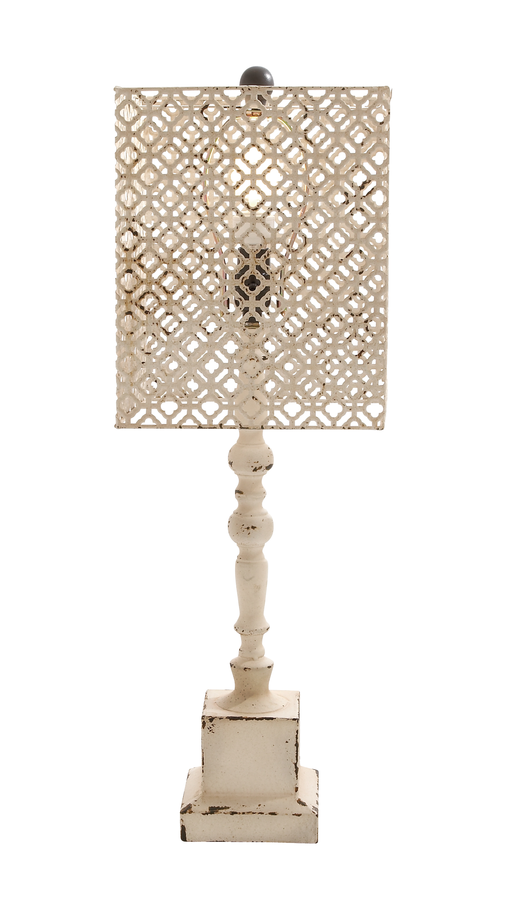 Decmode Eclectic 29 X 6 Inch Textured Iron And Wood Lattice Table