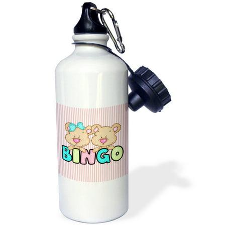 3dRose Cute Bingo Bears With Text On Striped Background, Sports Water Bottle, 21oz - Fitness Bingo