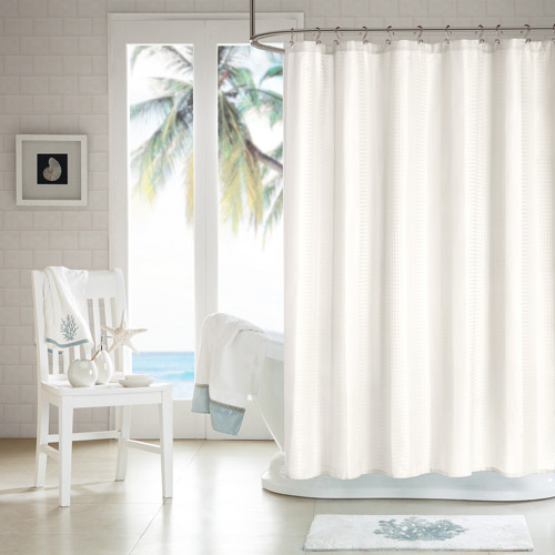 White Waffle Shower Curtain h2ology waffle weave shower curtain - walmart