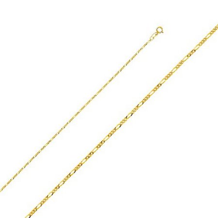 14K Yellow Gold Men Women's 1.2MM Light Figaro Chain Spring Clasp (16)
