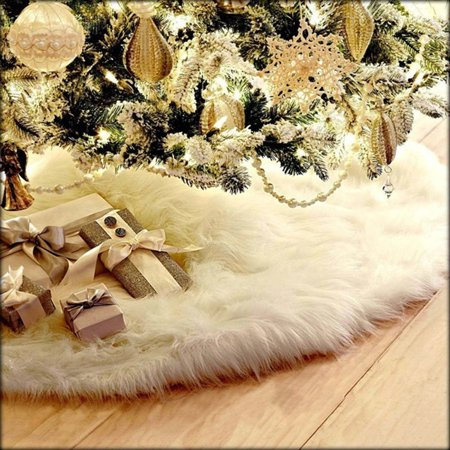 Binmer Christmas Plush Long Haired Christmas Tree Skirt Christmas Tree Skirt Decor